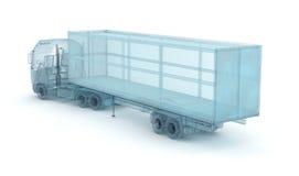 Camion con il contenitore di carico, modello del cavo Il miei propri disegno illustrazione di stock
