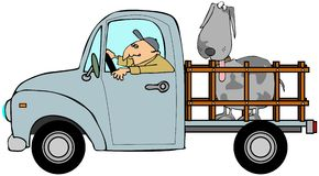 Camion con un grande cane nella parte posteriore Fotografie Stock Libere da Diritti