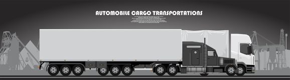 Camion con un manifesto del rimorchio su un tema industriale Fotografia Stock
