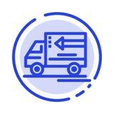 Camion, consegna, merci, linea punteggiata blu linea icona del veicolo illustrazione di stock