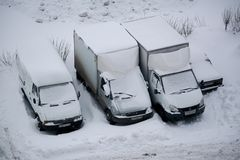 Camion coperti di neve Fotografia Stock