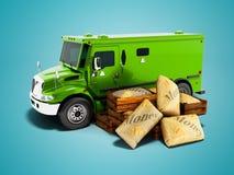 Camion corazzato verde moderno per soldi di trasporto in borse 3d rendere su fondo blu con ombra illustrazione vettoriale
