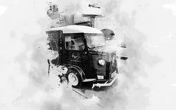 Camion d'annata dell'alimento di Citroen fotografia stock libera da diritti