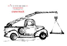 Camion d'annata disegnato a mano della gru di trasporto Schizzo rapido dell'inchiostro Illustrazione nera di vettore Immagine Stock