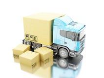 camion 3d avec des boîtes de carboard Photo libre de droits