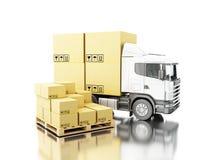 camion 3d avec des boîtes de carboard Photographie stock libre de droits