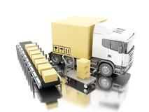camion 3d avec des boîtes de carboard Photos stock