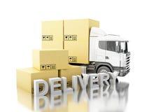 camion 3d avec des boîtes de carboard et Photo stock