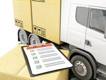camion 3d avec des boîtes de carboard avec la liste de contrôle Images stock
