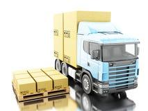 camion 3d avec des boîtes de carboard sur la palette Images libres de droits