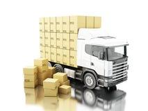 camion 3d avec des boîtes de carboard sur la palette Photo libre de droits
