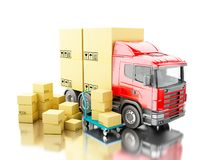 camion 3d avec les boîtes de carboard et le camion de main Photographie stock libre de droits