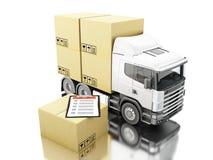 camion 3d avec les boîtes et la liste de contrôle de carboard Photographie stock