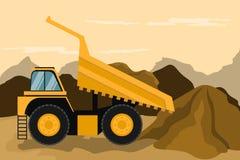 Camion d'extraction faisant la construction et le mien machines lourdes illustration stock