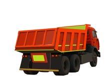 Camion d'isolement sur le fond blanc, orange, avec le jaune Photos stock