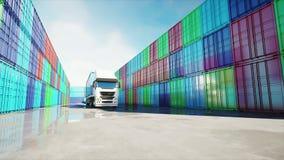 Camion dans le dépôt de récipient, entrepôt, port maritime Conteneurs de cargaison Concept logistique et d'affaires Animation 4K  illustration libre de droits