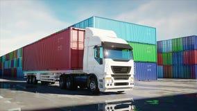 Camion dans le dépôt de récipient, entrepôt, port maritime Conteneurs de cargaison Concept logistique et d'affaires Animation 4K  illustration stock