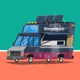 Camion de Bistros Nourriture de Delicius blanc d'isolement par distribution de concept Photos libres de droits