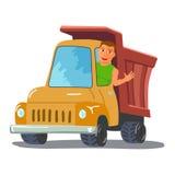 Camion de Character Waving From de chauffeur de camion de bande dessinée Vecteur Photographie stock libre de droits