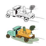 Camion de dessin animé avec des meubles Photos libres de droits