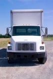 Camion de distribution blanc d'isolement Photo stock