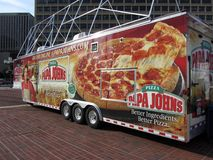 Camion de la pizza de John de papa Photos libres de droits