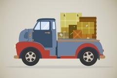 Camion de livraison avec des colis Photos libres de droits