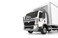 Camion de livraison commercial de cargaison avec la remorque blanche vide Conception générique et brandless Photographie stock libre de droits