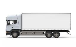 Camion de livraison de cargaison d'isolement sur le fond blanc Images stock