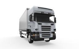 Camion de livraison de cargaison d'isolement sur le fond blanc Image libre de droits