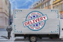Camion de livraison gratuit au centre de la ville Images stock