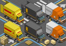 Camion de livraison isométrique dans la livrée trois Images stock
