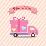 Camion de livraison de jour de valentines de Happe avec le conce de conception d'amour de coeur Photos libres de droits