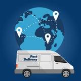 Camion de livraison sur le fond du globe Images stock