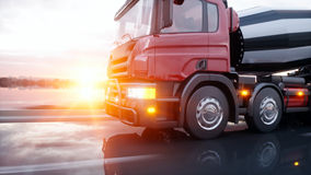 Camion de mélangeur concret sur la route Entraînement très rapide Concept de construction et de transport rendu 3d illustration libre de droits