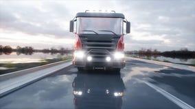 Camion de mélangeur concret sur la route Entraînement très rapide Concept de construction et de transport rendu 3d Photos libres de droits