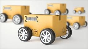 Camion de main avec la boîte en carton et les roues - 3D de haute qualité Photographie stock libre de droits