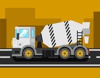 Camion de mélangeur de ciment de construction Voiture de construction de mélangeur concret De Photos stock