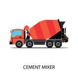 Camion de mélangeur de ciment sur le fond blanc Image libre de droits