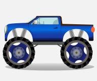 Camion de monstre avec de grandes roues Véhicule de voiture dans le bleu Photos libres de droits