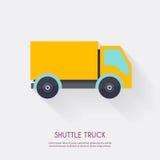 Camion de navette Blanc et transport logistiques d'icônes d'entrepôt Photos libres de droits