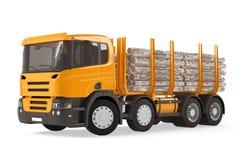 Camion de notation chargé lourd de bois de construction Photo stock