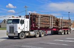 Camion de notation utilisé pour le transport de bois de construction sur les routes et les routes normales image libre de droits
