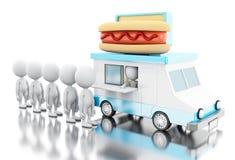 camion de nourriture du hot-dog 3d avec des personnes de race blanche attendant dans la ligne Image stock