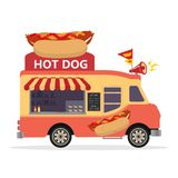 Camion de nourriture de hot-dog Concept de camion de nourriture de rue aliments de préparation rapide sur un fond blanc Style pla illustration libre de droits