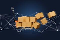 Camion de palette et carboxes avec le système de connexion réseau - 3d au sujet de Images stock