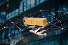 Camion de palette et carboxes avec le système de connexion réseau - 3d au sujet de Image stock