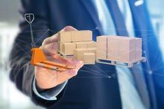 Camion de palette et carboxes avec le système de connexion réseau - 3d au sujet de Photo stock