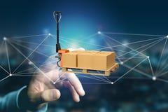 Camion de palette et carboxes avec le système de connexion réseau - 3d au sujet de illustration stock