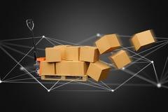 Camion de palette et carboxes avec le système de connexion réseau - 3d au sujet de illustration de vecteur
